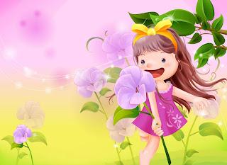 Gambar kartun wanita dan bunga