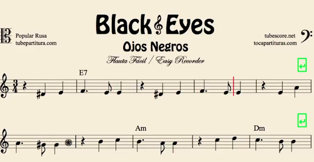 10 Partituras Populares Tradicionales 4º Partitura de Black Eyes Sheet Music Ojos Negr