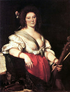 The Viola da Gamba Player (»Gambenspielerin«), c. 1630–1640, (Gemäldegalerie, Dresden) by Bernardo Strozzi, believed to be of Barbara Strozzi