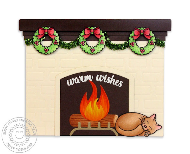 Sunny Studio Stamps: Shaped Fireplace with Wreaths & Kitty Cat Card (using Christmas Icons, Pet Sympathy & Heartfelt Wishes Stamps)