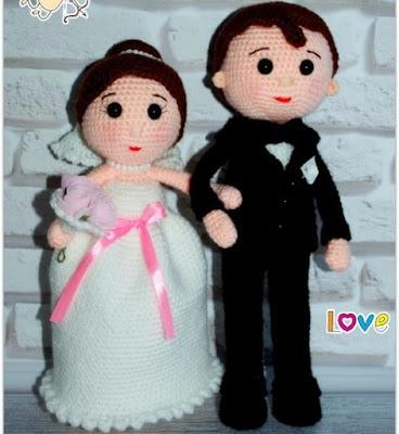 Вязаные куклы крючком жених и невеста