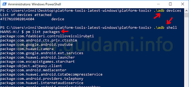 PowerShell Windows con impartiti comandi adb