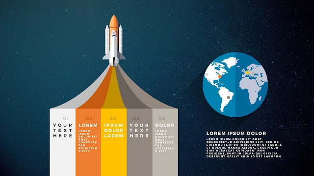 Free PowerPoint Template with Rocket Infographics and Banner Type Option