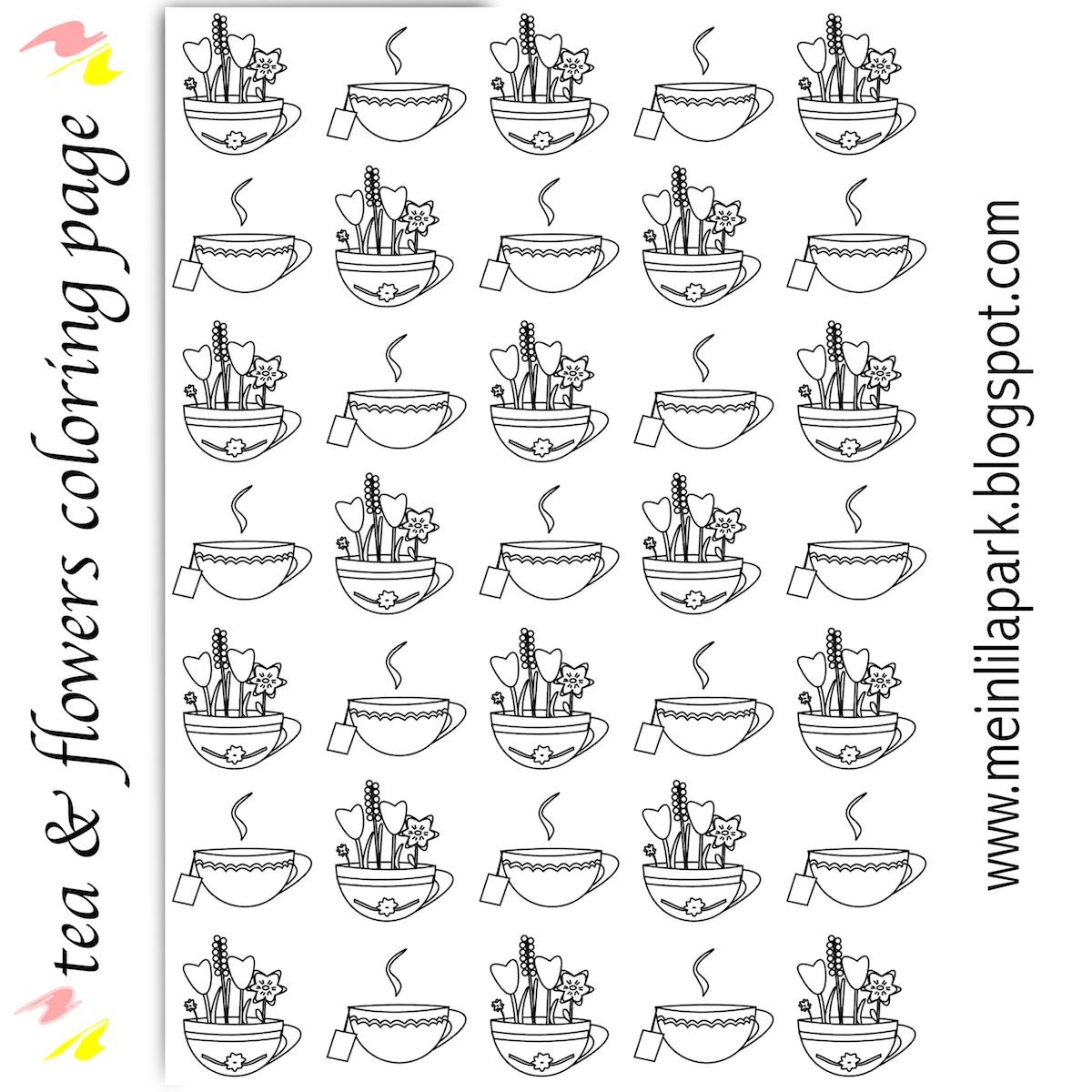 free printable flower tea coloring page ausdruckbares