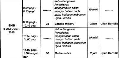 Jadual Waktu PT3 2018 Exam Date