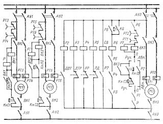 Схема электропривода холодильной фреоновой установки системы кондиционирования воздуха