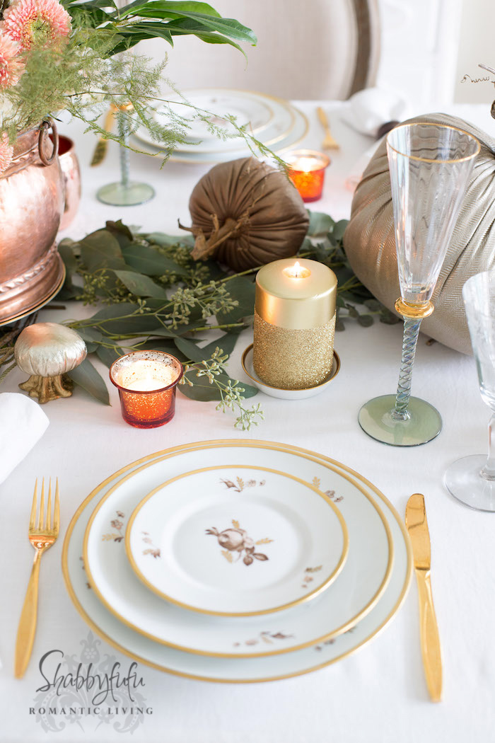 royal Copenhagen vintage dinnerware and gold flatware