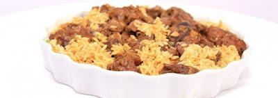 مكعبات اللحم بالأرز ولسان العصفور
