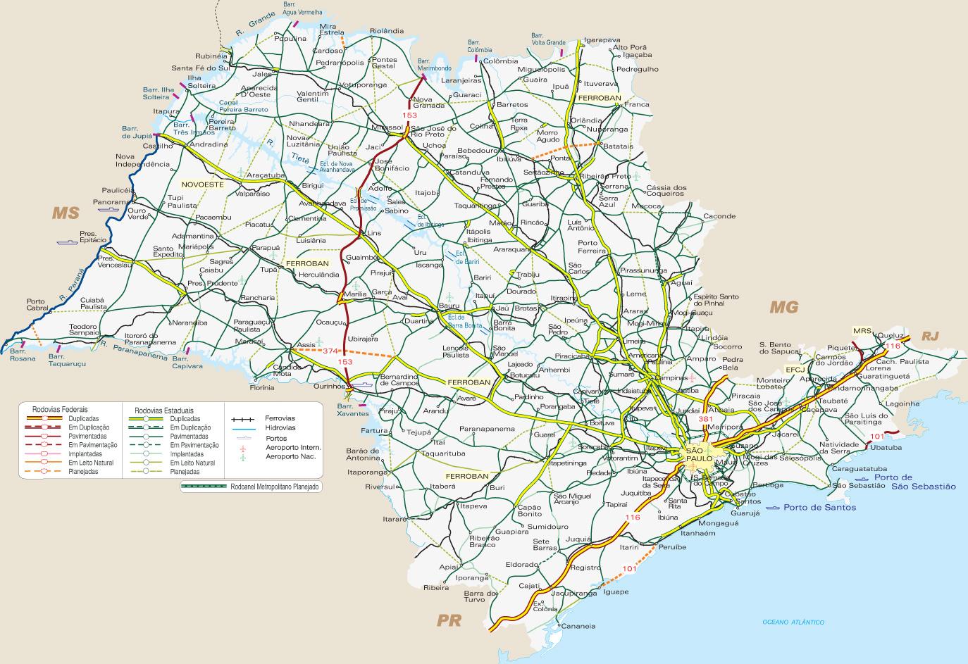 Mapa Rodoviário do Estado de São Paulo