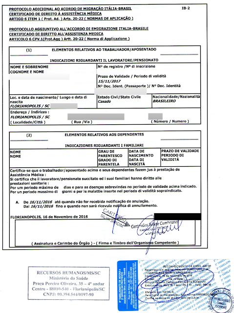 IB-2: Não precisa de seguro saúde para viajar para a Itália