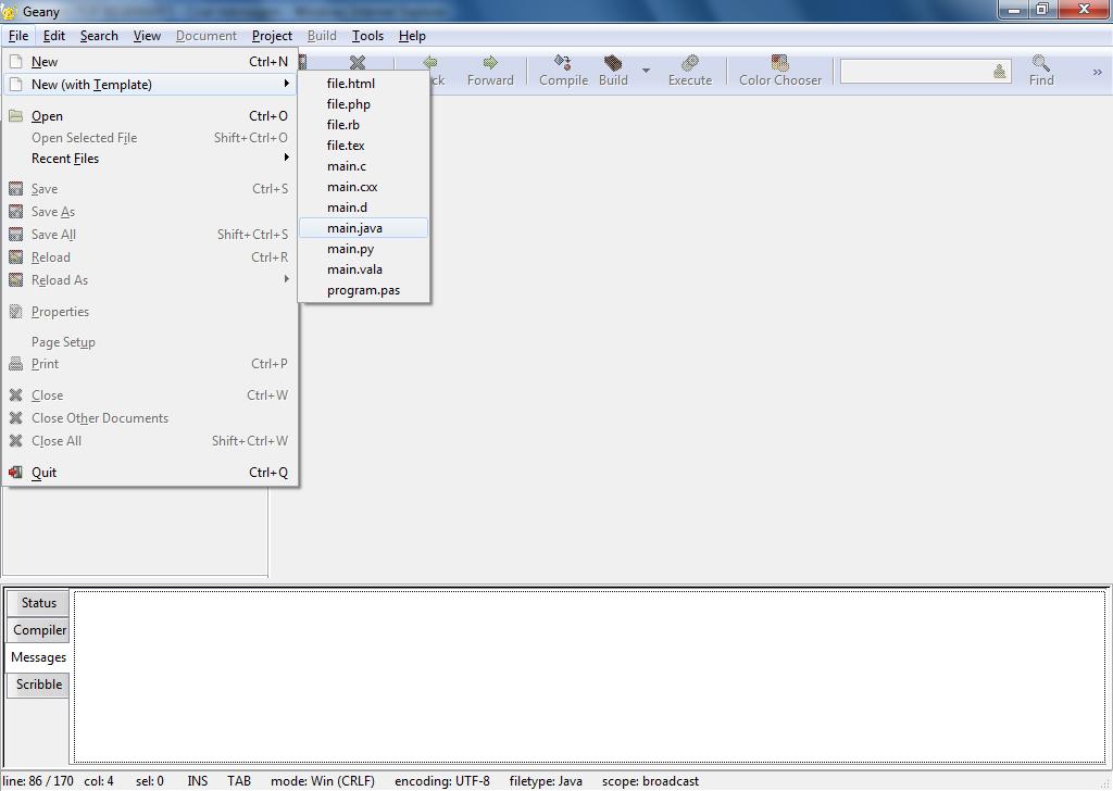 Compilando e executando programas em java o for Geany templates