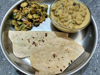 Wheat Phulkah, Channa kurma, Bitter gourd poriyal