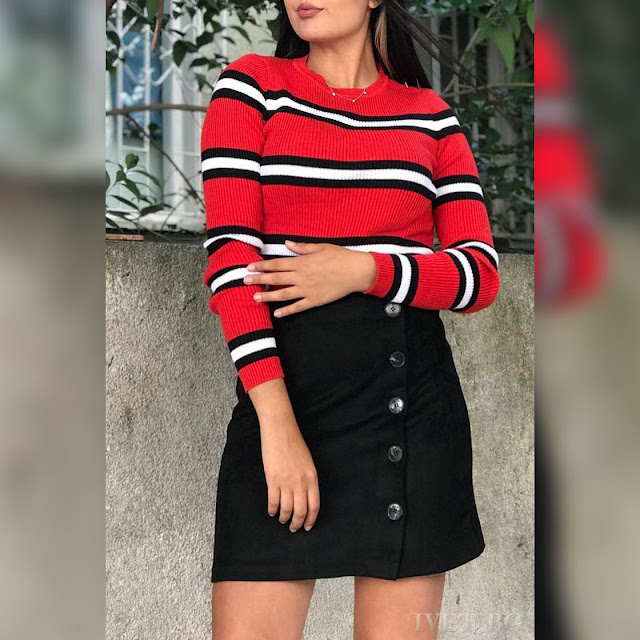Ψηλόμεση  μεσάτη κοντή μαύρη φούστα CIELA BLACK
