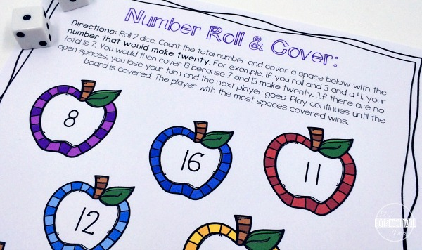 free printable math games to help kindergarten and first grade with number sense