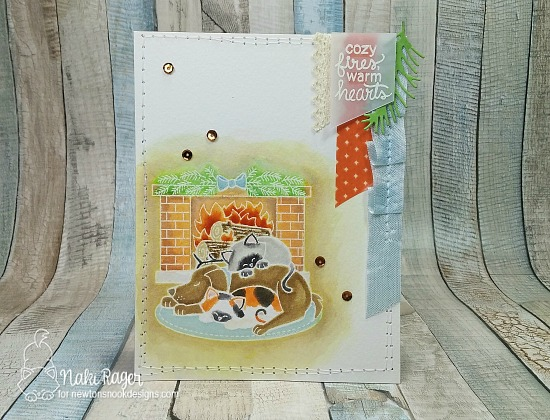 Dog and Cat by Fireplace Card by Naki Rager | Fireside Friends Stamp Set by Newton's Nook Designs #newtonsnook
