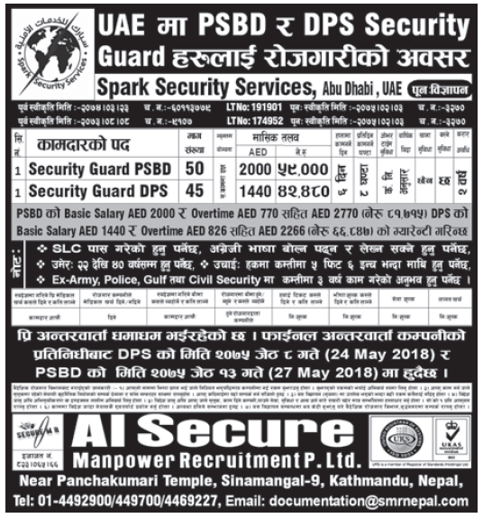 Jobs in UAE for Nepali, Salary Rs 59,000