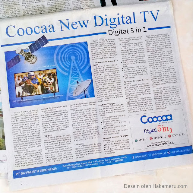 Desain iklan media cetak untuk perusahaan elektronik TV Skyworth (TV LED Coocaa)