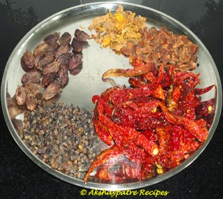 roasted other spices to make kala masala