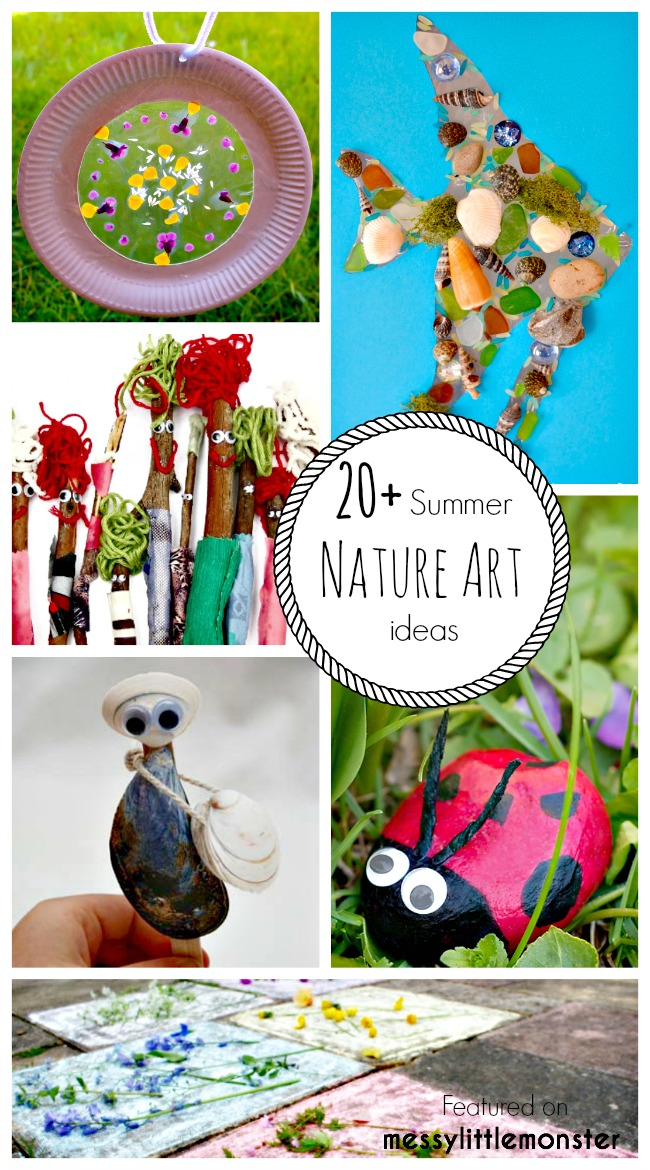 Summer Nature Art and Craft Ideas for Kids. 20 fun outdoor activity ideas using nature for toddlers, preschoolers and older kids to enjoy. Stone, stick, flower, shell and leave nature crafts.