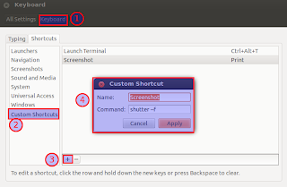 set shorcut for shutter taking screenshot