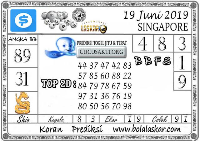 Prediksi Togel SINGAPORE LASKAR4D 19 JUNI 2019