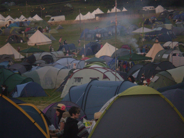 field of tents at a festival