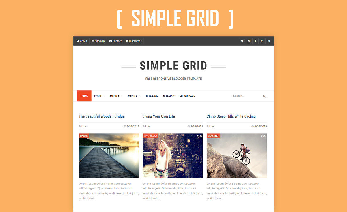 Simple Grid Responsive Blogger Template Arlina Design