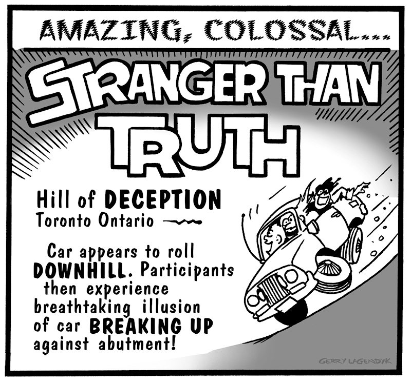 Stranger Than Truth, magnetic hill, science cartoon