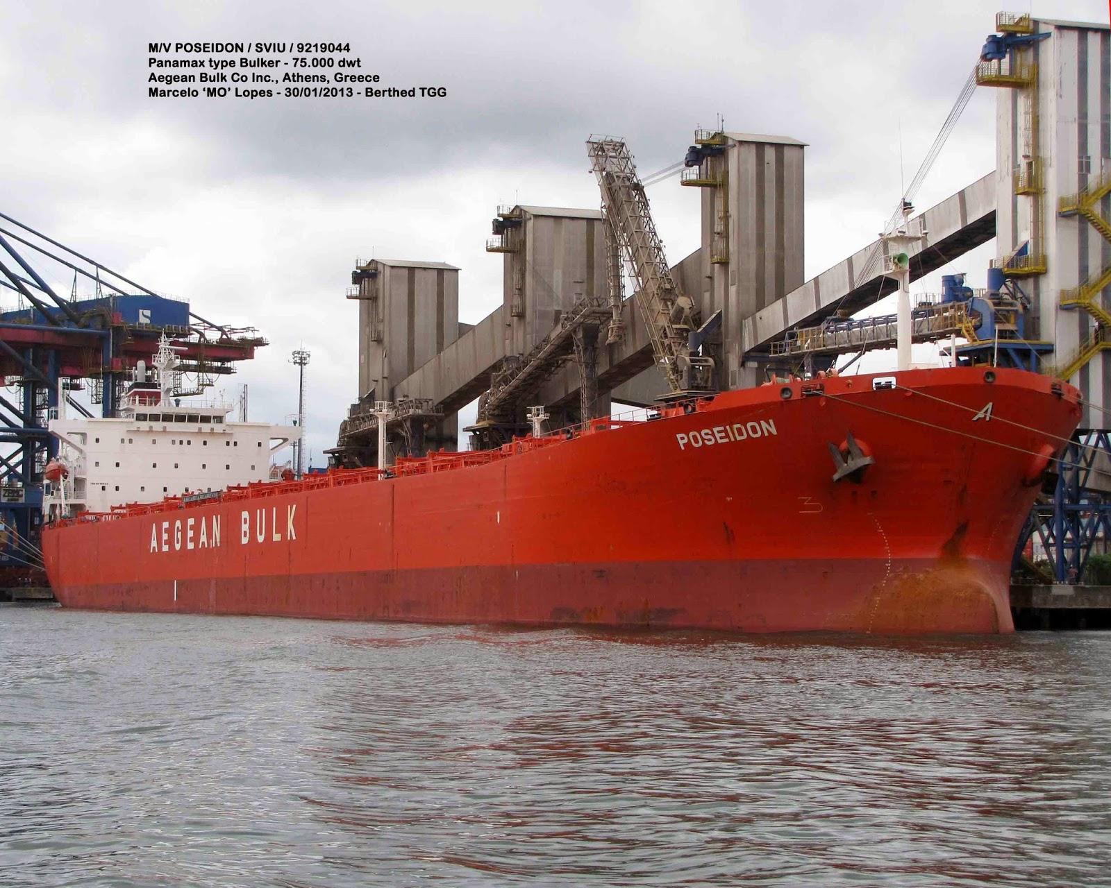 Santos Shiplovers: M/V Poseidon / SVIU - Atracado no TGG e