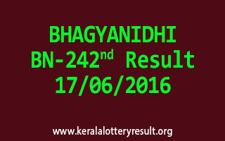 BHAGYANIDHI Lottery BN 242 Results 17-6-2016