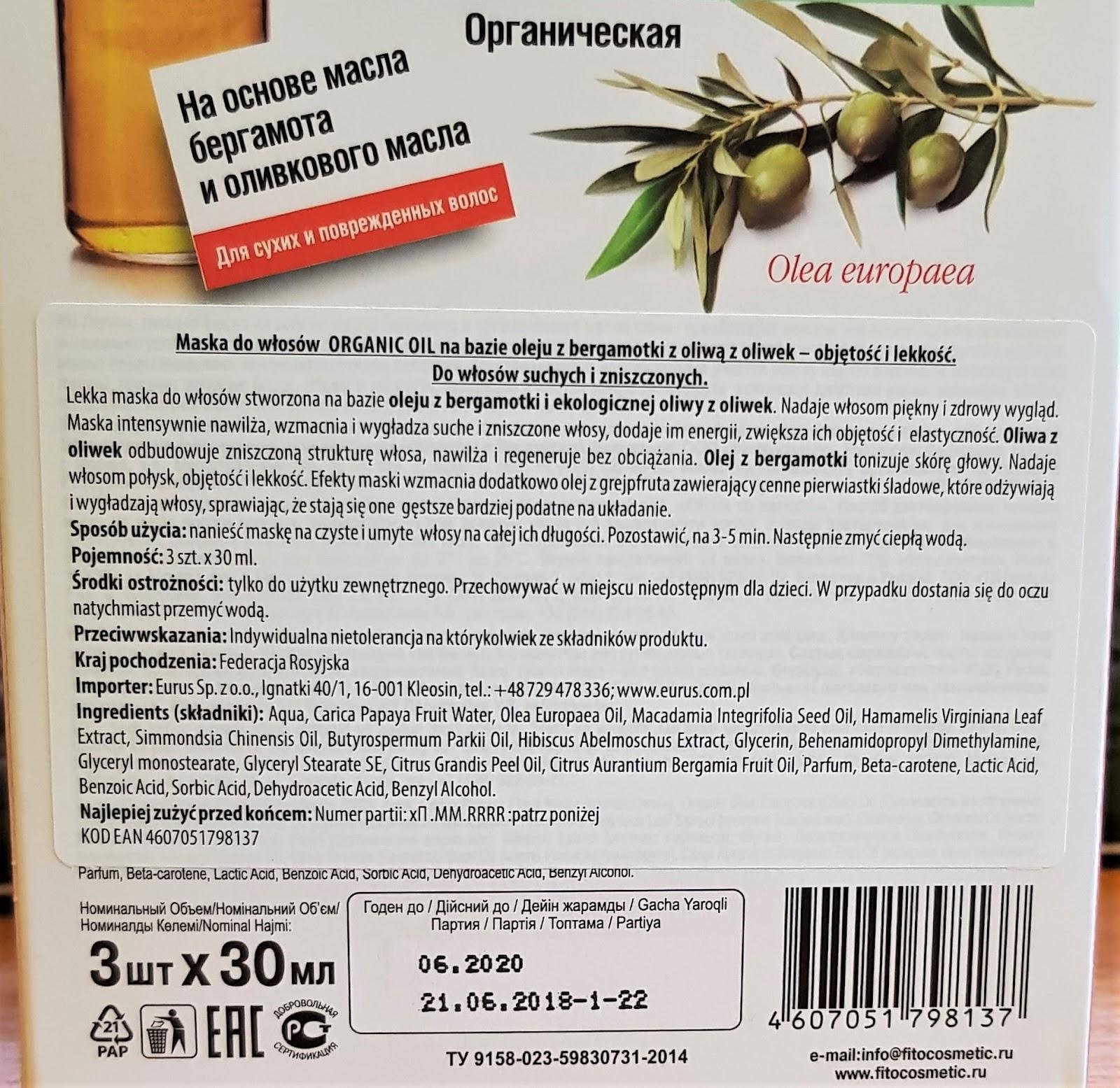 Fitokosmetik organiczna maska do włosów na bazie oleju z bergamotki z oliwą z oliwek objętość i lekkość
