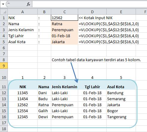 Contoh Rumus VLOOKUP untuk Data Base Karyawan