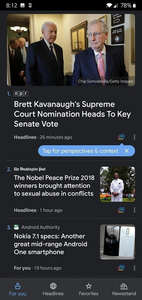 Google News App Dark Theme