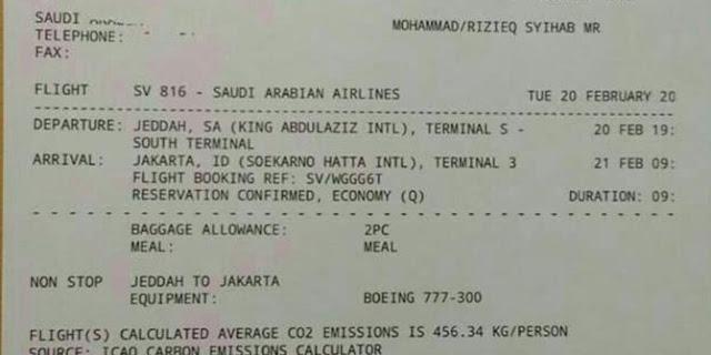 Ketua Alumni 212 : Tiket Kepulangan Habib Rizieq Shihab Ke Indonesia Hoaks