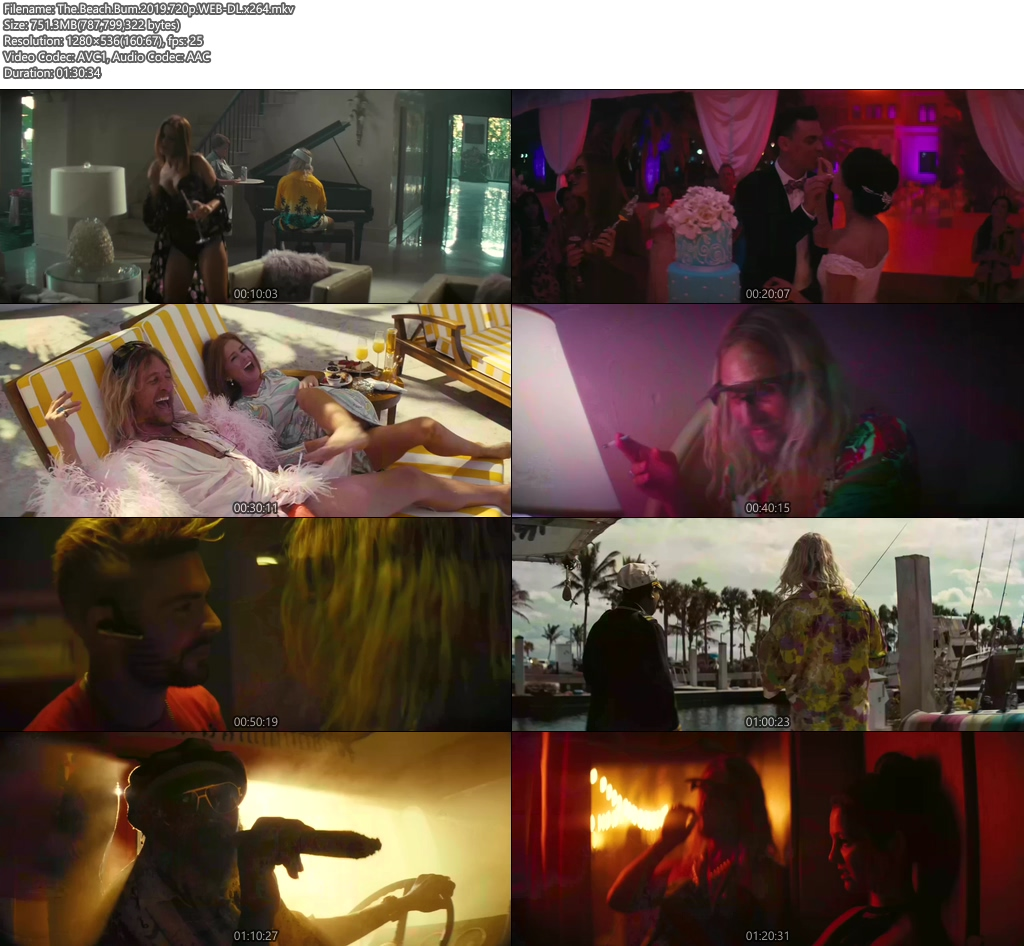 The Beach Bum 2019 720p WEB-DL x264 | 480p 300MB | 100MB HEVC Screenshot