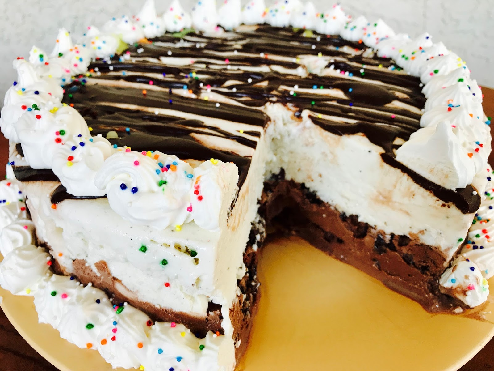 Ice Cream Cake with Cookies, Chocolate and Vanilla Whipped ...