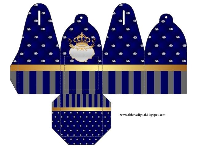 Caja para cupcakes, chocoltes o golosinas de Corona Dorada en Azul y Brillantes.