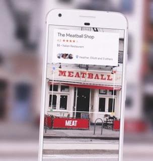 Apresentação do Google Lens ao buscar informações sobre estabelecimento