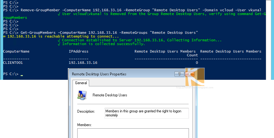 vGeek: Powershell Add or Remove members from Remote Group Module