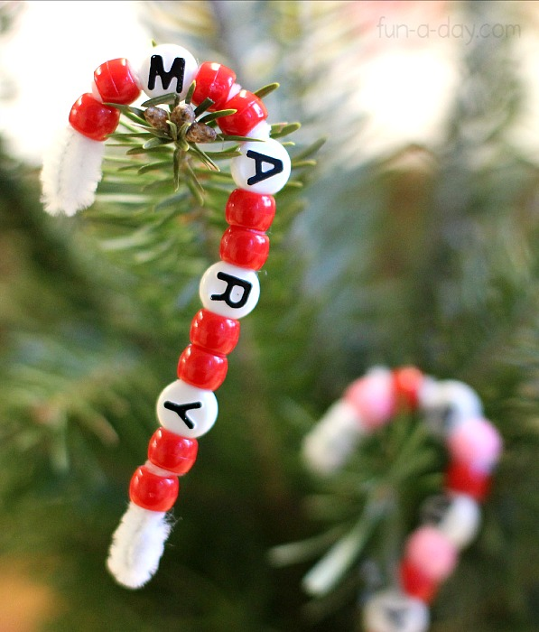 bean name candy cane ornament