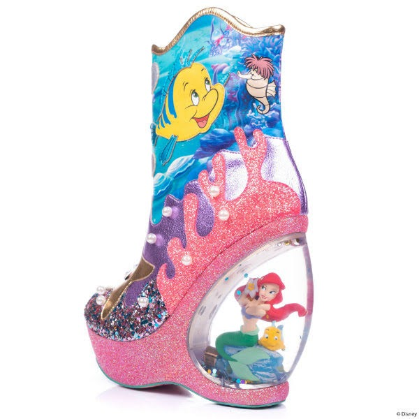 ariel heeled waterglobe boot with under the sea theme
