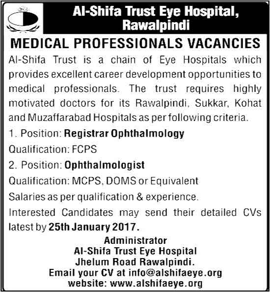 Al Shifa Trust Eye Hospital Rawalpindi Medical Professional Jobs