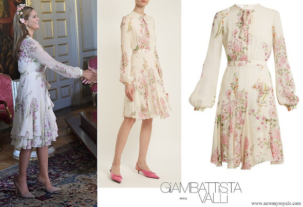 Princess Madeleine wore Giambattista Valli Garden Butterfly-print silk-georgette dress