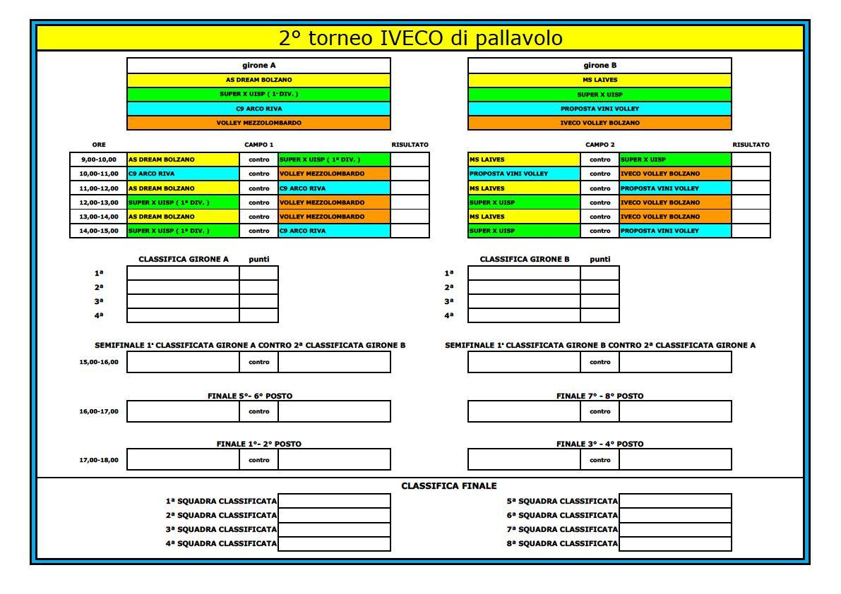 Calendario Torneo A 7 Squadre.Dream 2018 19 Calendario 2 Torneo Iveco
