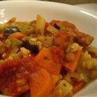 Запечённая чечевица с рисом и овощами