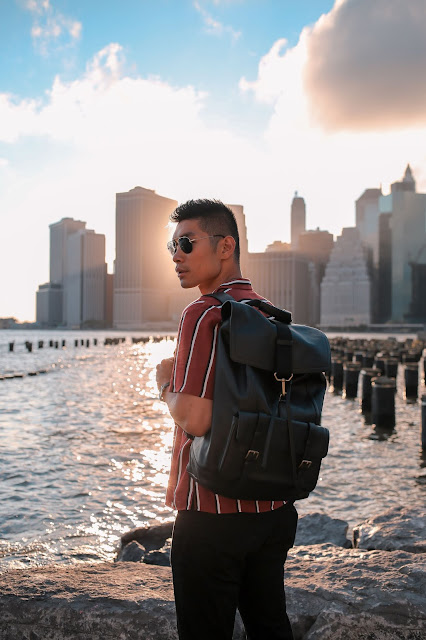 Striped Button Down Shirt, Coach Leather Backpack, Allen Edmonds Loafers | Asian Male Model Blogger