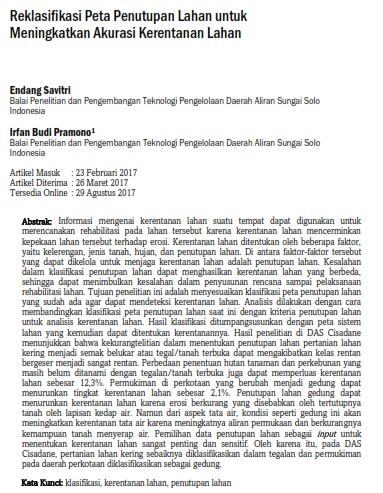 Reklasifikasi Peta Penutupan Lahan untuk Meningkatkan Akurasi Kerentanan Lahan [Paper]