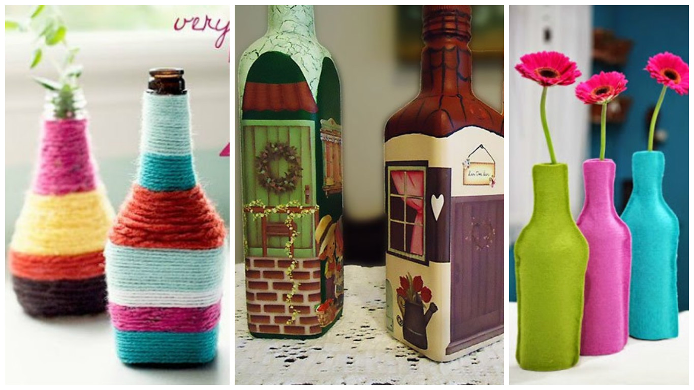 Recicla y aprende c mo decorar tus botellas de vidrio - Como decorar botellas de vidrio ...
