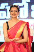 Kajal Aggarwal in Red Saree Sleeveless Black Blouse Choli at Santosham awards 2017 curtain raiser press meet 02.08.2017 055.JPG