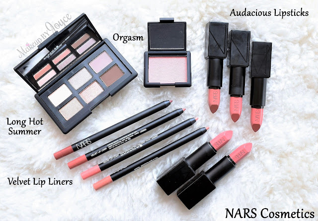 NARS Long Hot Summer Eyeshadow Palette Audacious Lipstick Velvet Lip Liner Collection Swatches Review